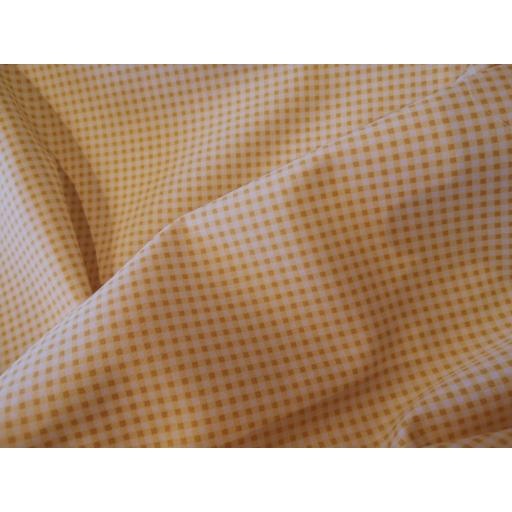 Yellow gingham print cotton poplin