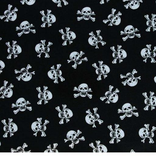 Black skulls, skull and crossbones pirate Polycotton
