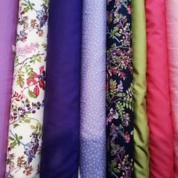 Lotus purple poplin, meadow flowers, purple, lavender stars, meadow flowers navy, lime green, cerise, pink starsjpg