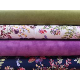 Green craft cotton, meadow floral white, magenta marble, navy meadow floral