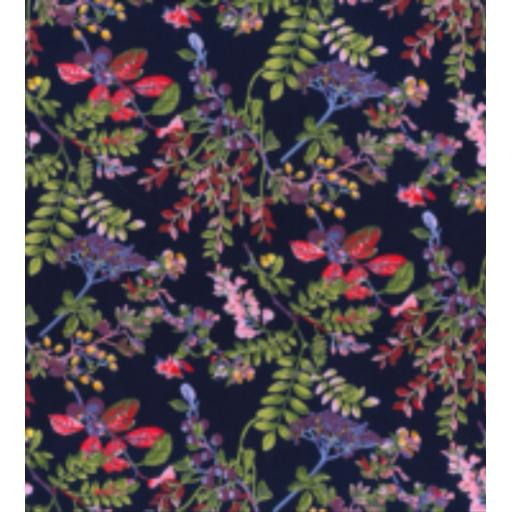 Navy meadow floral cotton poplin