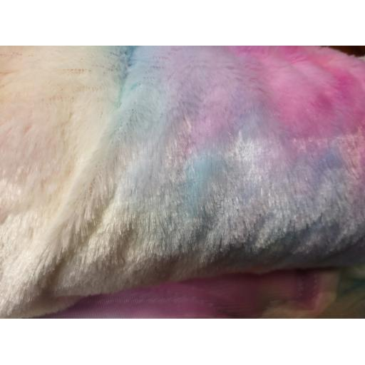 Rainbow pastel fake fur fabric