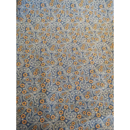 Grey and ochre yellow Paisley print cotton poplin