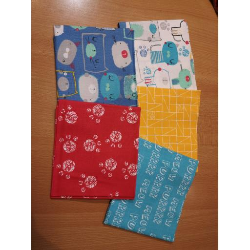 Cutzie Cat 5 piece fat quarter set