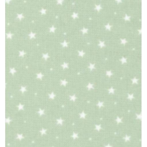 Pistachio little star cotton poplin