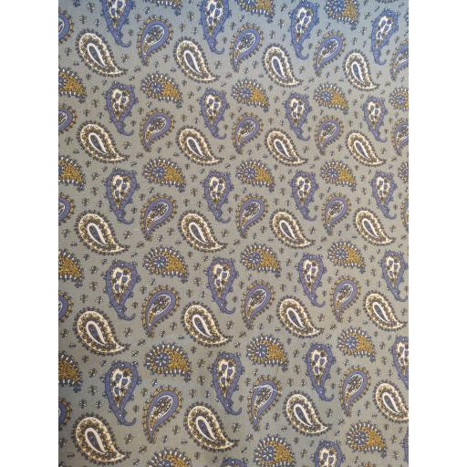 Grey Paisley print cotton poplin
