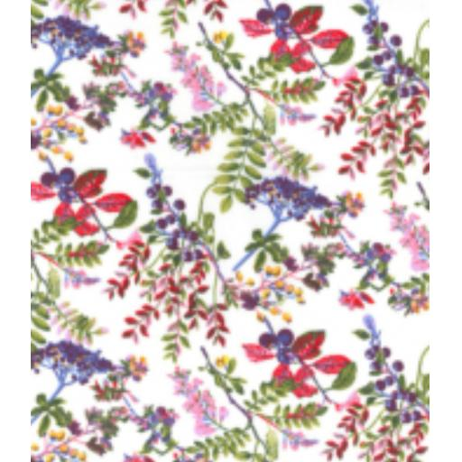White meadow floral cotton poplin