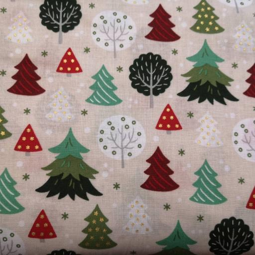 Christmas tree cotton poplin