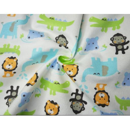 Animals brushed cotton winceyette fabric
