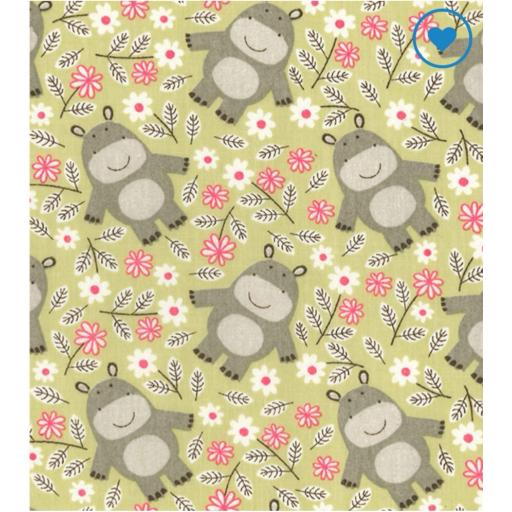 Cute animal green Polycotton