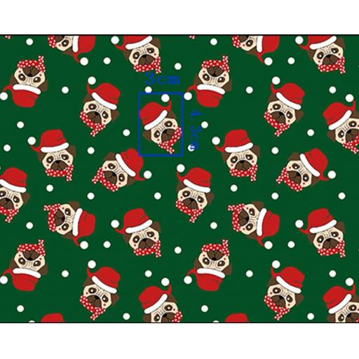 Pugs, xmas dogs in santa hats Polycotton