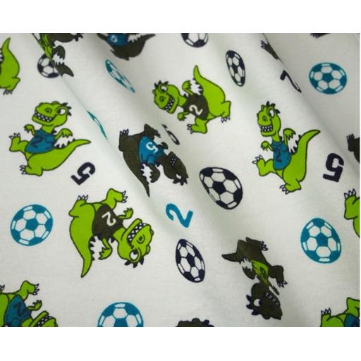 Dinosaur football brushed cotton winceyette fabric
