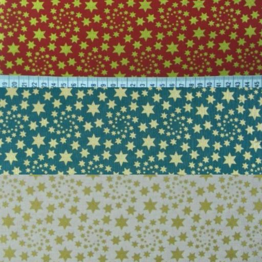 New Gold swirly stars Christmas poplin