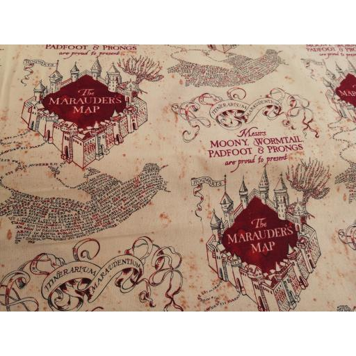 Harry Potter cotton fabric - marauders map