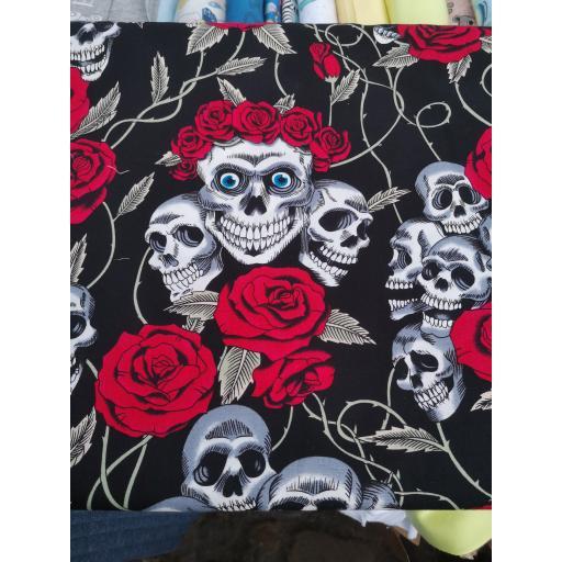 Skulls and Roses cotton poplin