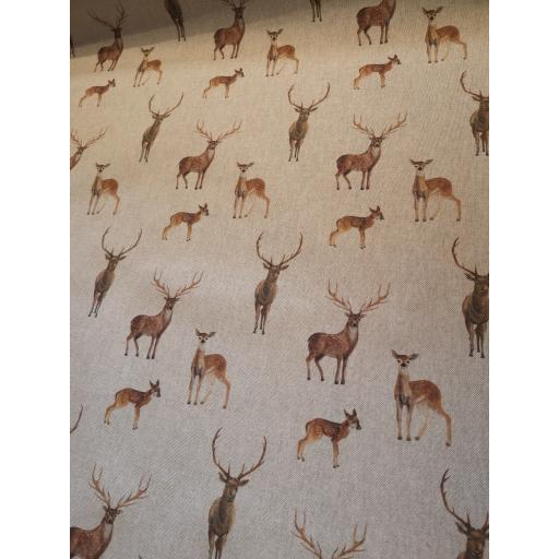 Stag and deer linen look canvas by Chatham Glyn
