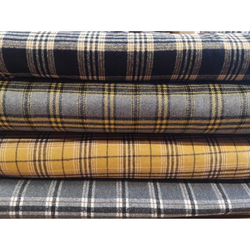 Wool mix check fabric (poly wool) grey/ochre/navy