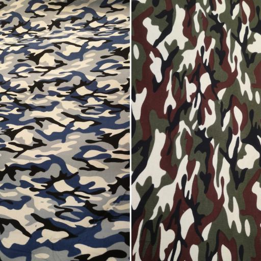 Camouflage Printed Needlecord 100% cotton lots of colours