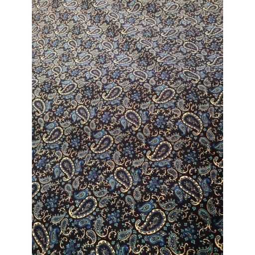 Black and Turq Paisley Needlecord 100% cotton