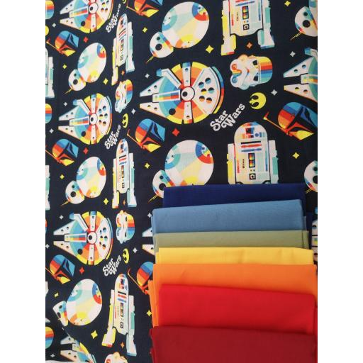 Star wars- retro rainbow millennium falconcotton fabric arriving soon