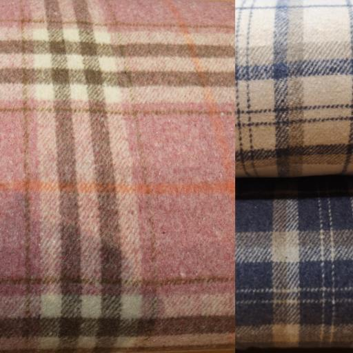 Wool mix check fabric (poly wool) blue/cream/pink