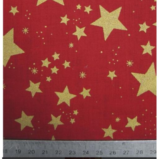 Red and Gold xmas stars Christmas poplin