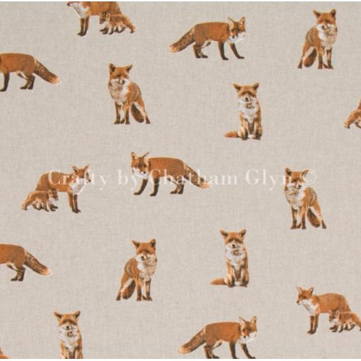 Fox and cubs, linen look canvas by Chatham Glyn