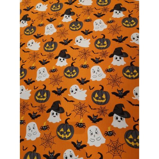 Pumpkin orange ghost, witches hats Halloween pumpkin bat cotton poplin