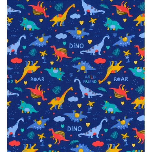 Royal Dinosaur 2 way print cotton poplin fabric
