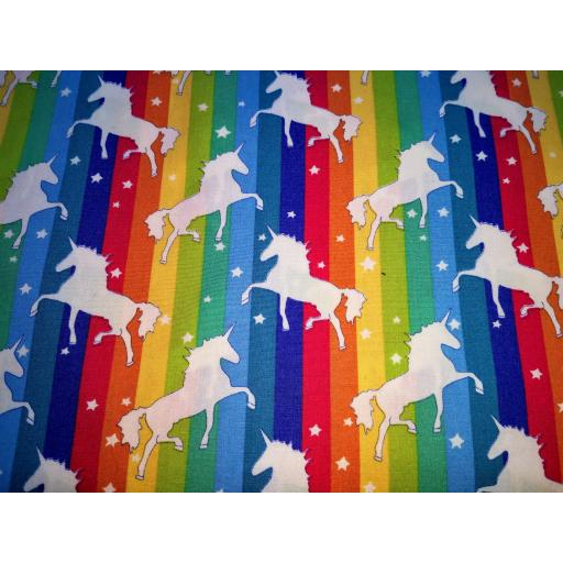 Rainbow unicorn cotton poplin