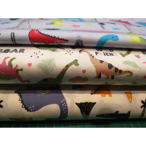 Dinosaur 2 way print cotton poplin fabric