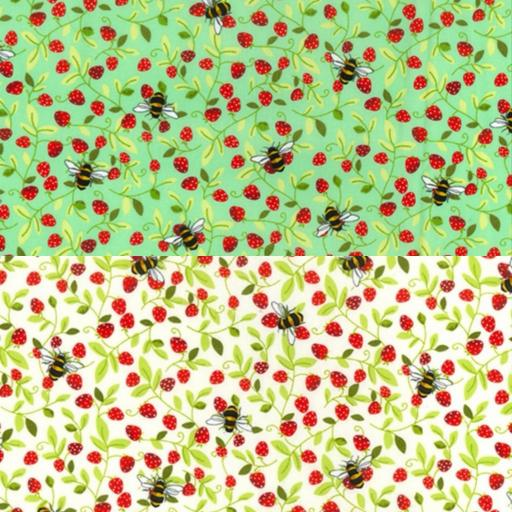 Strawberry Honey Bees cotton poplin fabric