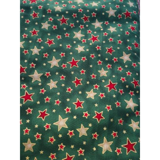 Green, gold, red stars Christmas poplin
