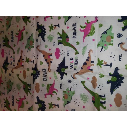 Green Dinosaur 2 way print cotton poplin fabric