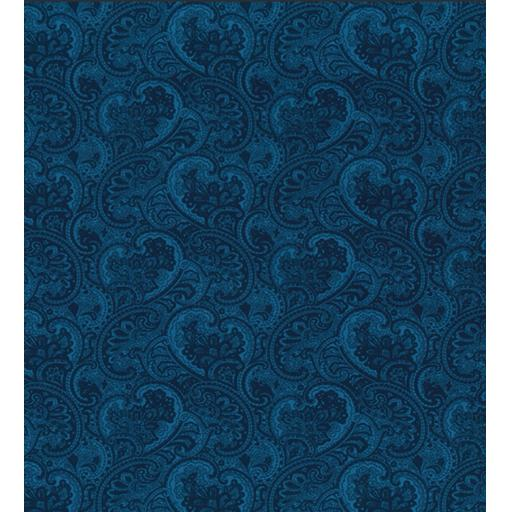 Black and blue Paisley print cotton poplin