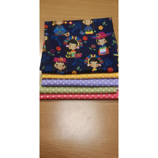 Japanese dolls cotton fat quarter set