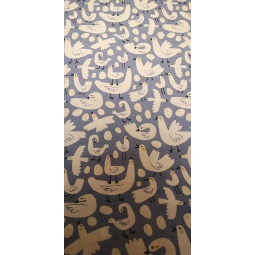 Chicken and eggs 148 cm wide cotton poplin