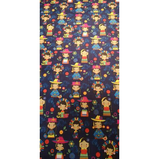 Japanese dolls 144cm cotton fabric