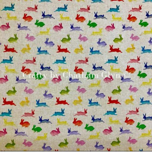 Rainbow rabbits linen look canvas by Chatham Glyn