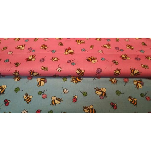 Cute Bees cotton poplin fabric