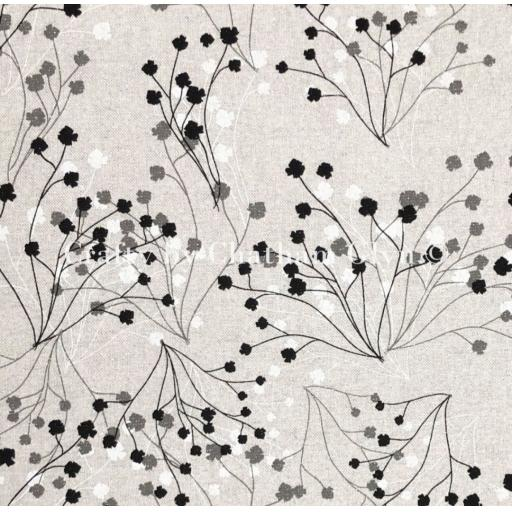 Trailing flowers sparkle linen look canvas by Chatham Glyn