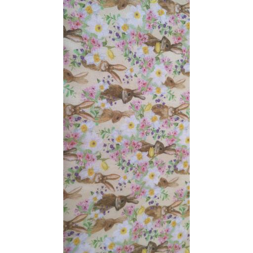 Bunnies and flowers 148cm wide cotton poplin