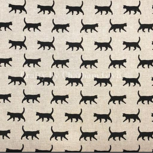 Lucky Black cats linen look canvas by Chatham Glyn