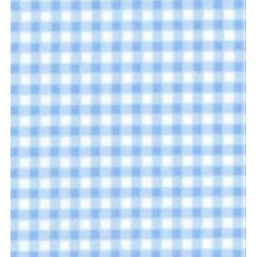Blue gingham print cotton poplin