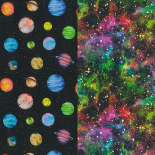"Planets print, 60"" wide cotton fabrics"