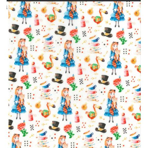 "Alice in wonderland print, 60"" wide cotton fabrics"