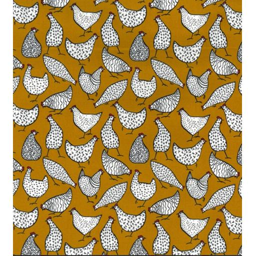 Ochre-yellow Chicken, chicken cotton poplin