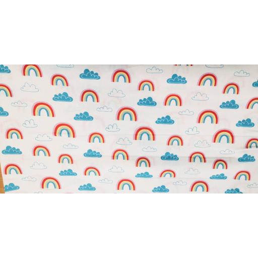 Rainbow and clouds craft cotton fabric