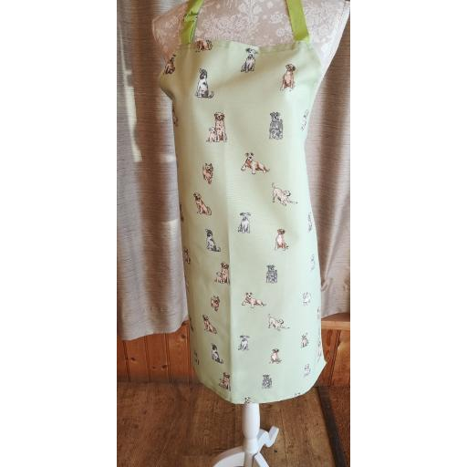 Dashing dogs Adult apron - hand made full length apron with adjustable neck strap