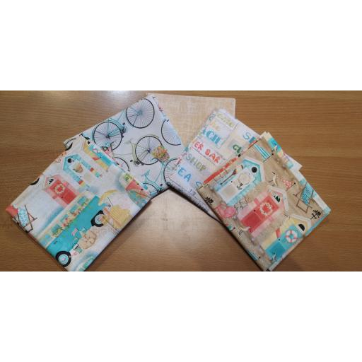 FAT QUARTERS 5 pcs set Beach travel - by 3 Wishes